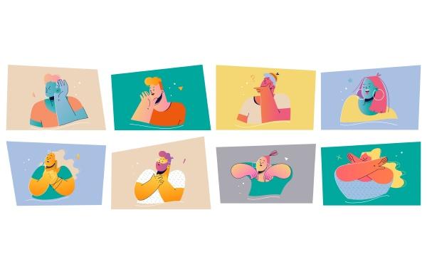 emotion face expression print set