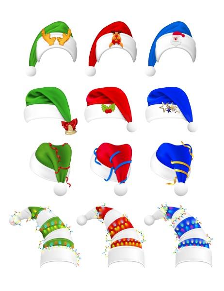 realistic, christmas, hats, set, collection - 30667583