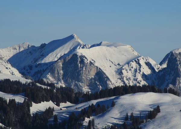 wintery mountain landscape near zweisimmen