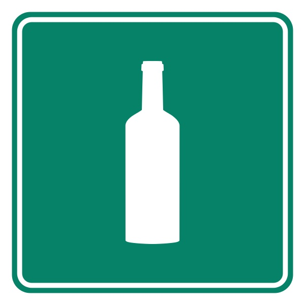 bottle and road sign