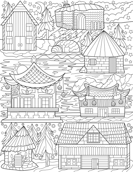 different nations old house designs colorless
