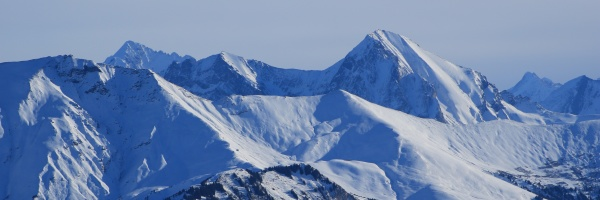 snow, covered, mountain, peaks, seen, from - 30672170