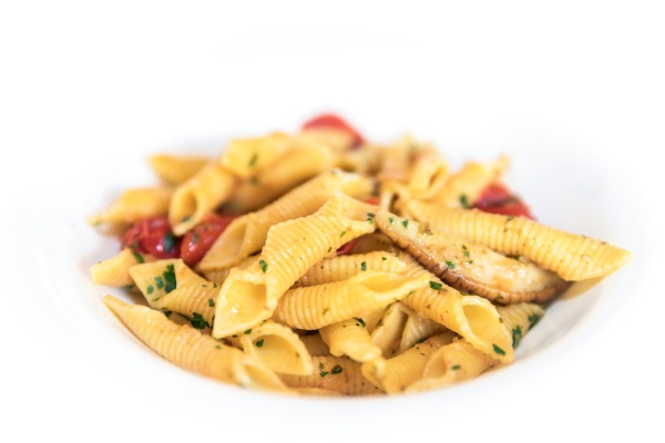penne pasta with mushrooms and cherry