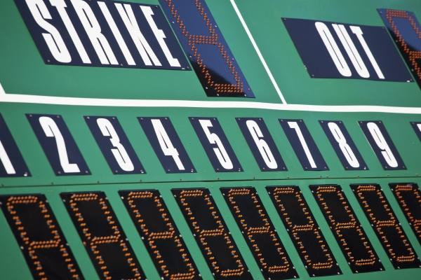 baseball scoreboard green board and