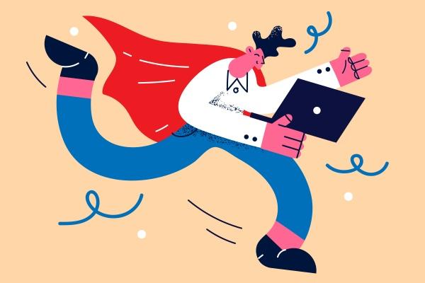 businessman superhero and distant work concept