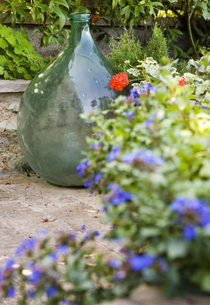 glass vase with flower pots on