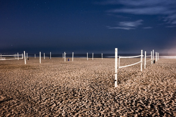 beach volleyball nets on sand on