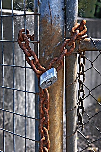 rusty chain and padlock on a