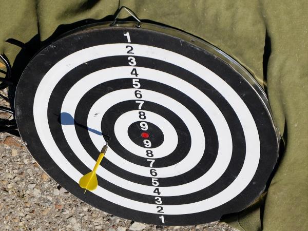 darts board in park outside