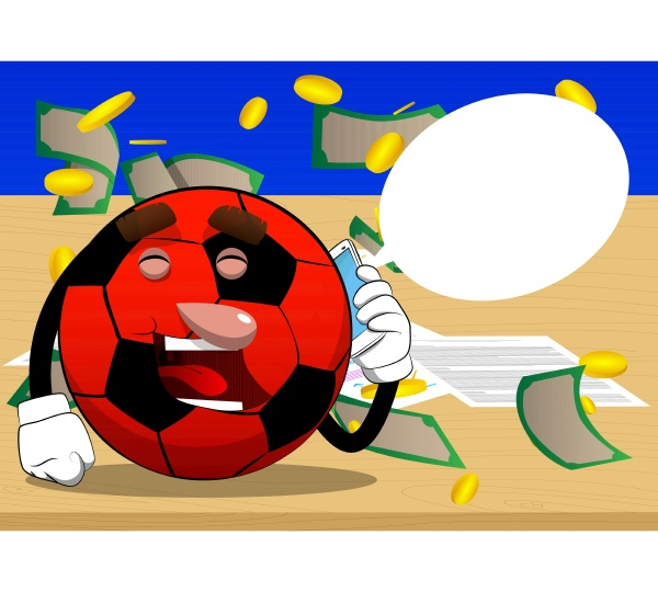 soccer ball talking on cell phone