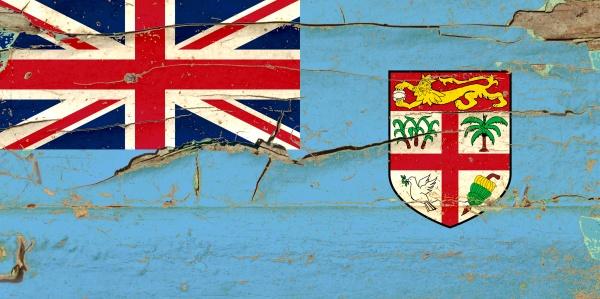3d flag of fiji on wood