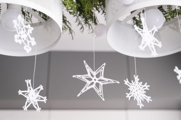 beautiful winter interior decoration white knitted
