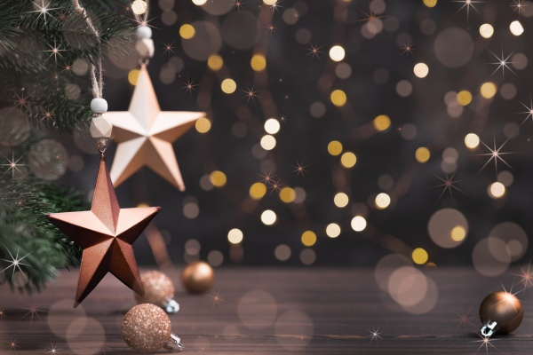 festive composition with brown stars on