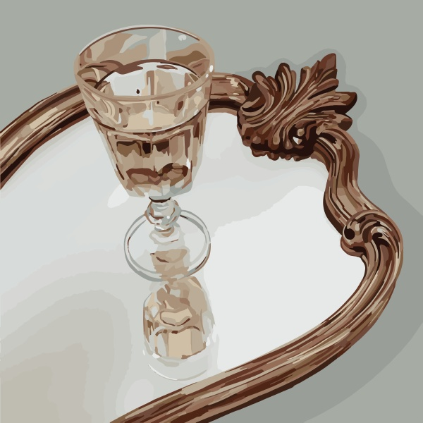 a crystal goblet stands on the