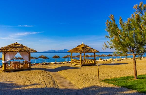 beautiful beach massage table on kos