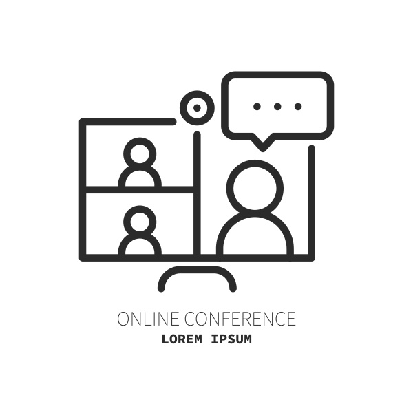 online meeting related line icon