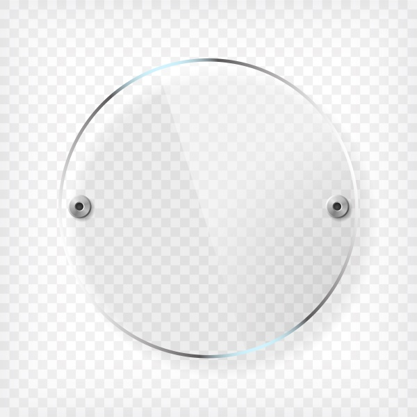 transparent round glass plate with reflection