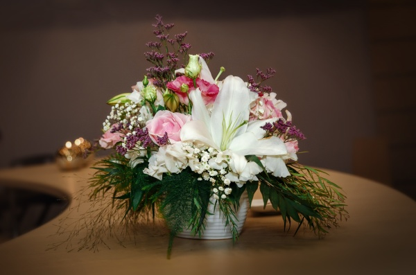 floral designer bouquet on table