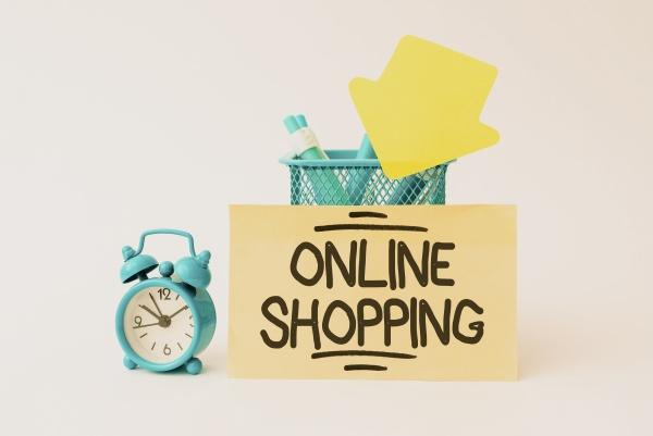 conceptual caption online shopping business idea