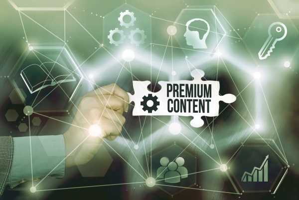 text caption presenting premium content concept