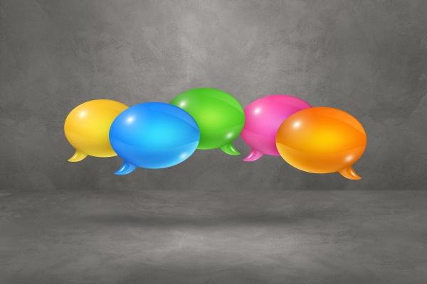 multicolor speech bubbles on grey background