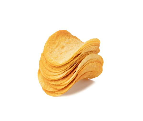 stack of round potato chips with