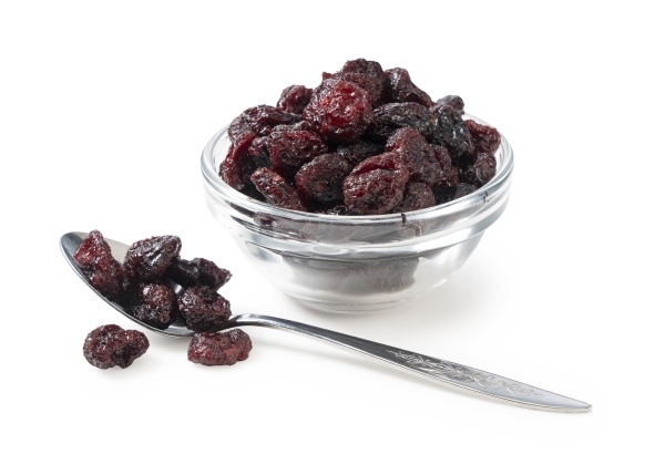 dried cranberries in a glass bowl