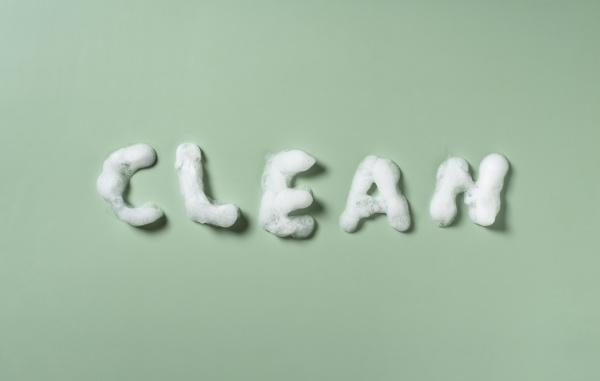 clean written in bubbles on a