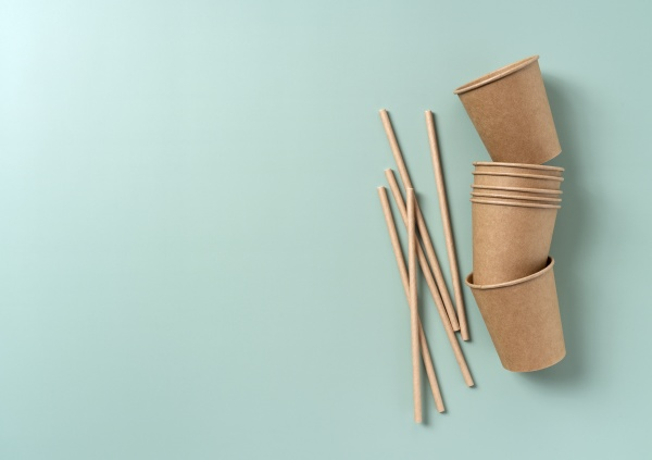 disposable paper cups and straws set