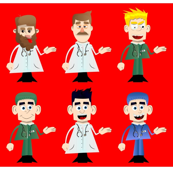 funny cartoon doctor giving a hand