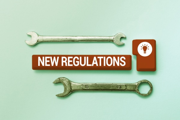 text sign showing new regulations business