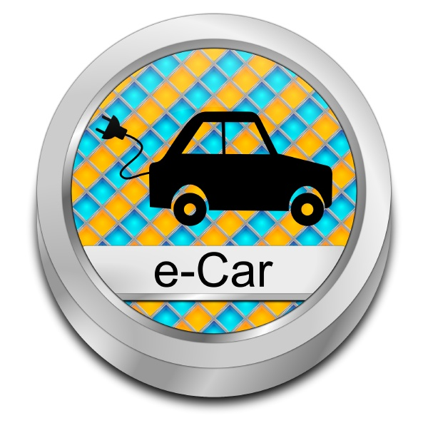 e car button orange blue