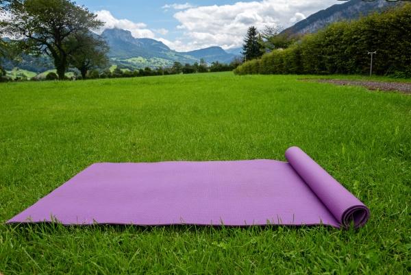 fitness mat on the green grass