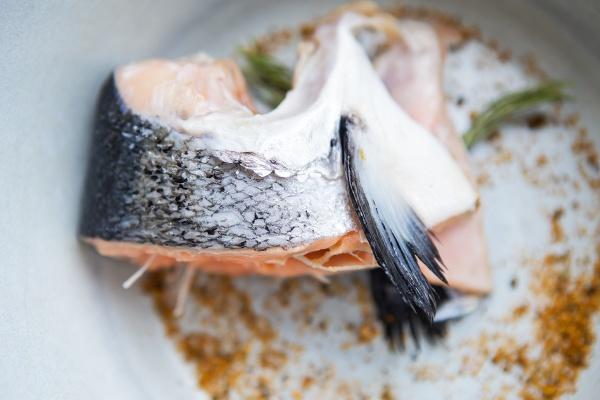 a chopped piece of salmon steak