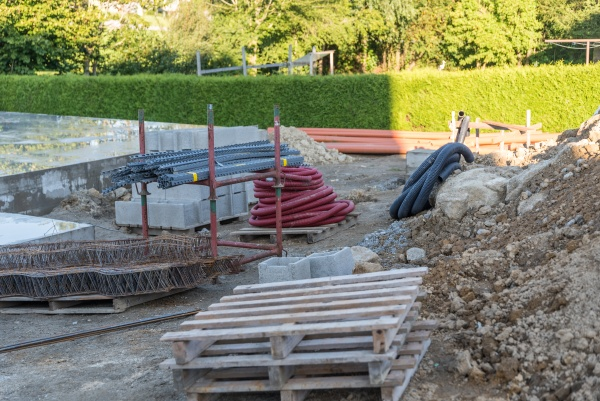 construction site with building materials