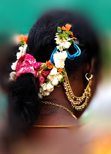 indian woman hair style or decoration