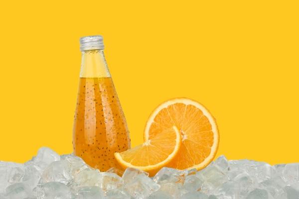 one, glass, bottle, of, orange, drink - 30728661