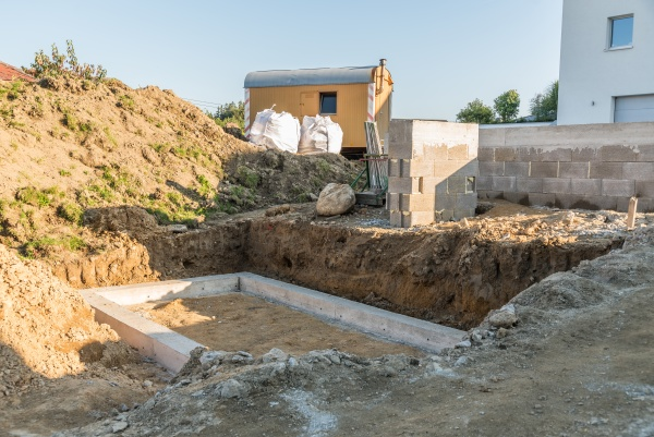 construction site with strip foundation and