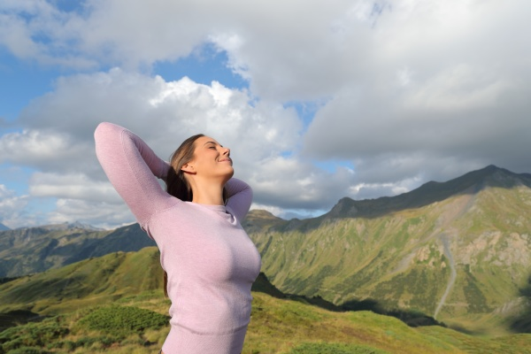 casual woman relaxing in the mountain
