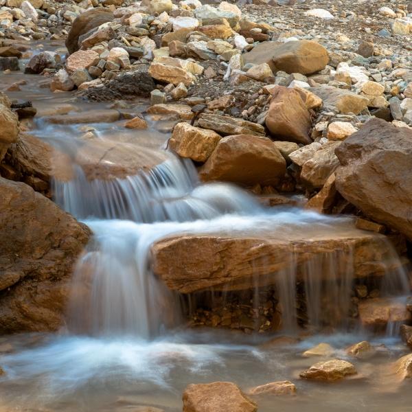 bletterbach creek in bletterbach gorge near