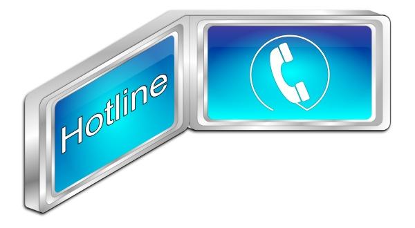 hotline button blue 3d illustration