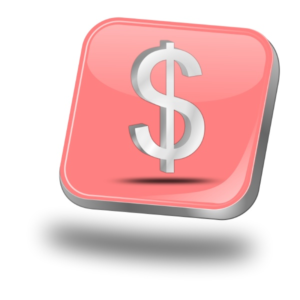 button with dollar sign pastel red