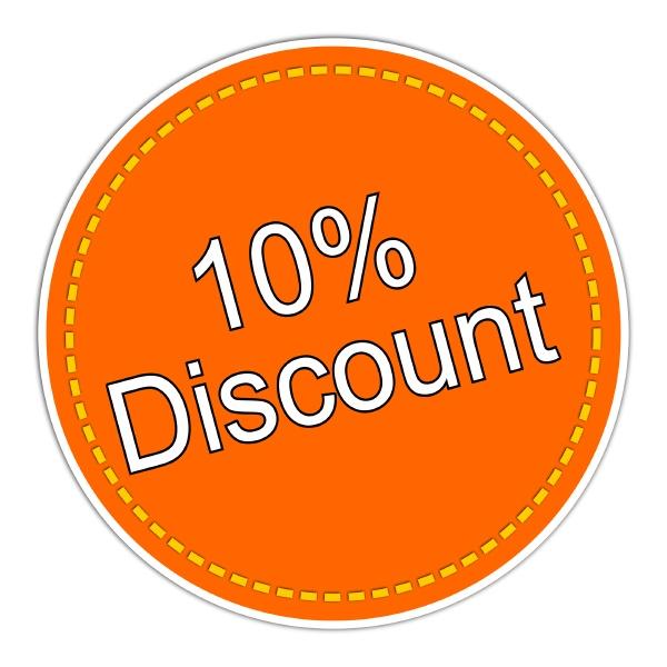 10 discount sticker orange illustration