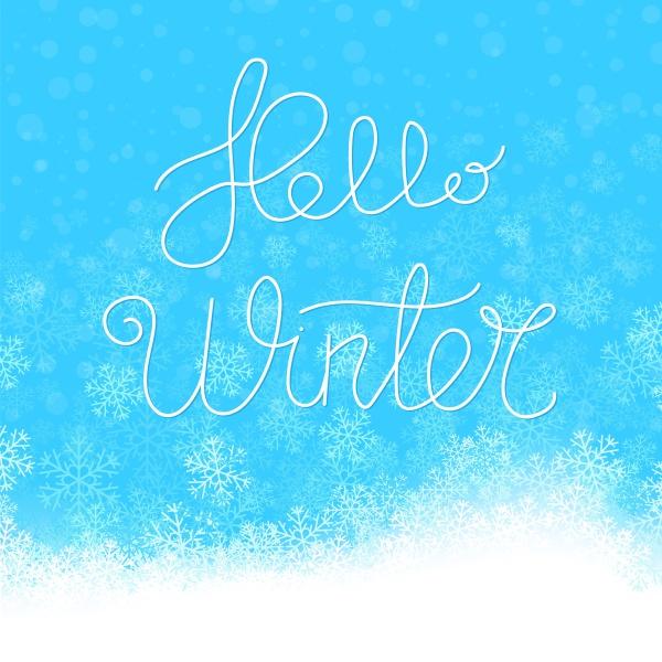 hello winter typographic poster hand drawn