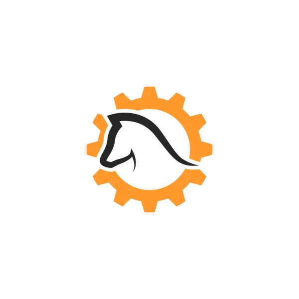 horses with gear icon template vector
