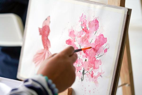 watercolor drawings creation at painting art