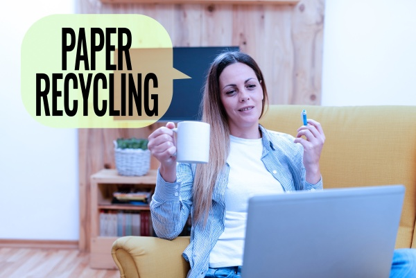 hand writing sign paper recycling word