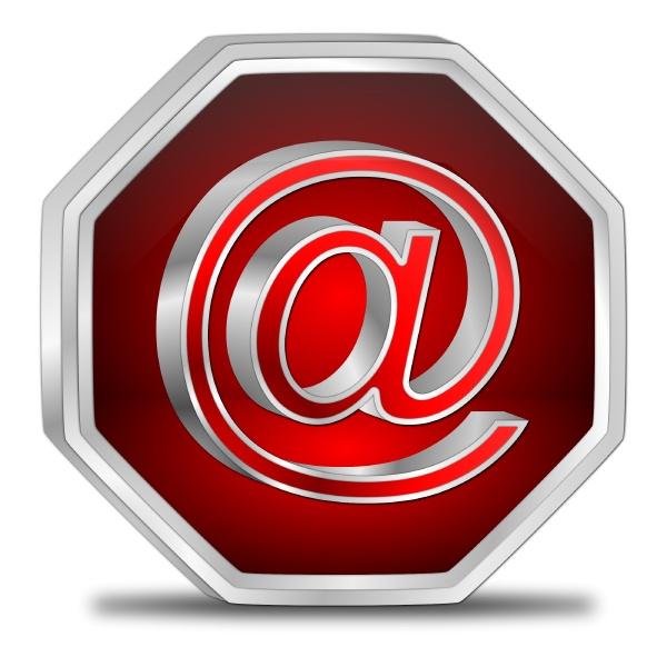 e mail button glossy red