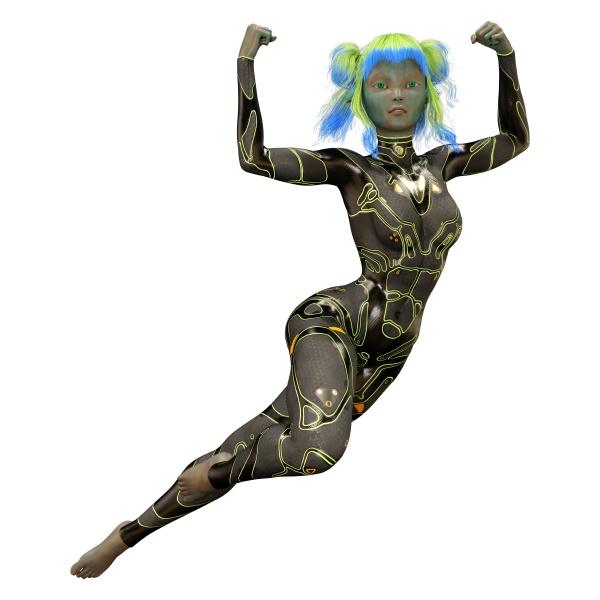 3d rendering green female alien on
