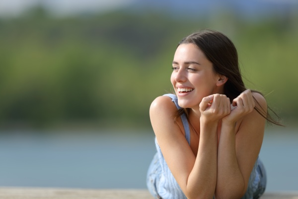 happy woman looking at side in